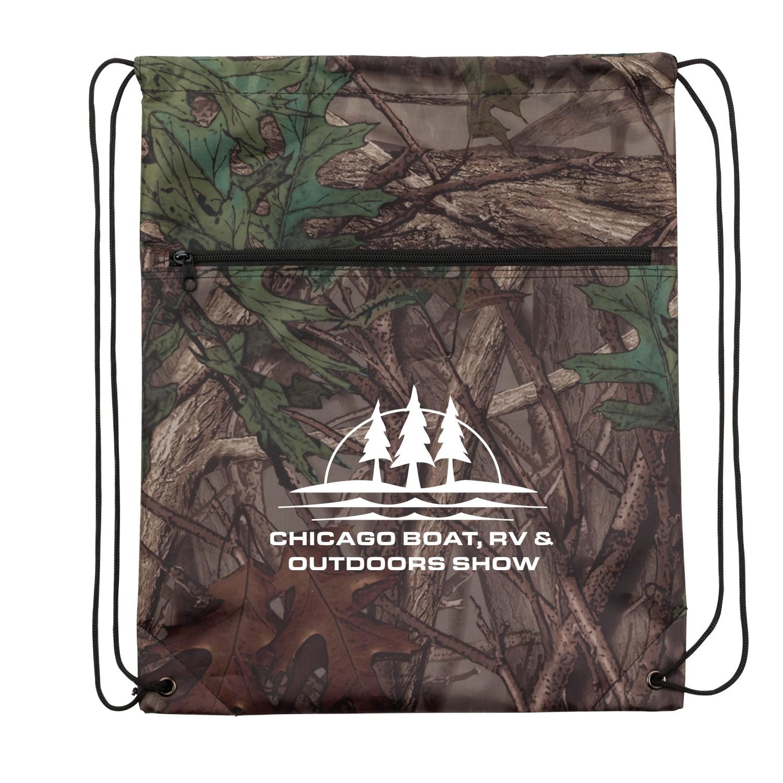 Outdoor Camo Drawstring Backpack w/ Zipper